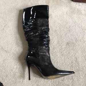 Steven madden patent leather and suede boot